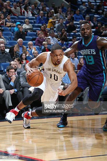 Eric Gordon of the New Orleans Pelicans drives to the basket against PJ Hairston of the Charlotte Hornets during the game on January 15 2016 at...