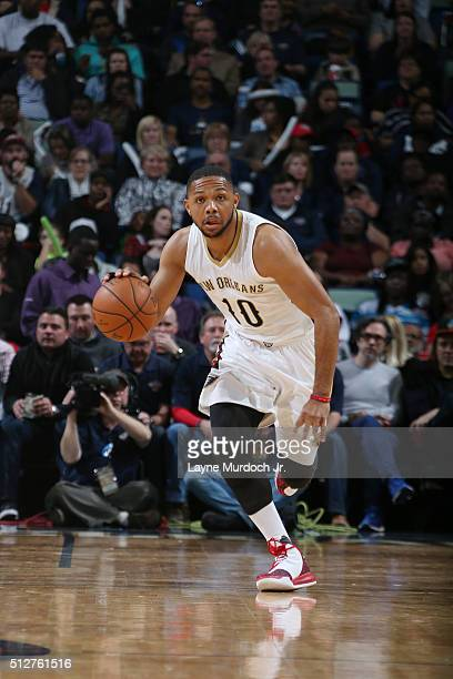 Eric Gordon of the New Orleans Pelicans handles the ball against the Minnesota Timberwolves on February 27 2016 at the Smoothie King Center in New...
