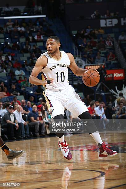 Eric Gordon of the New Orleans Pelicans handles the ball against the Utah Jazz on March 5 2016 at Smoothie King Center in New Orleans Louisiana NOTE...