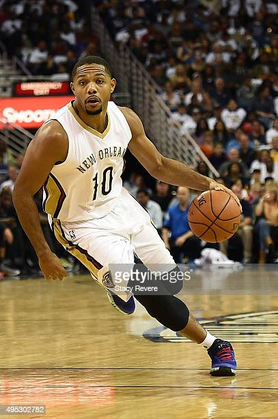 Eric Gordon of the New Orleans Pelicans handles the ball during a game against the Golden State Warriors at the Smoothie King Center on October 31...