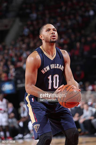 Eric Gordon of the New Orleans Pelicans shoots a free throw against the Portland Trail Blazers on December 14 2015 at the Moda Center in Portland...