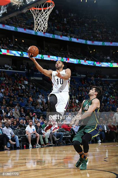 Eric Gordon of the New Orleans Pelicans shoots the ball against the Utah Jazz on March 5 2016 at Smoothie King Center in New Orleans Louisiana NOTE...
