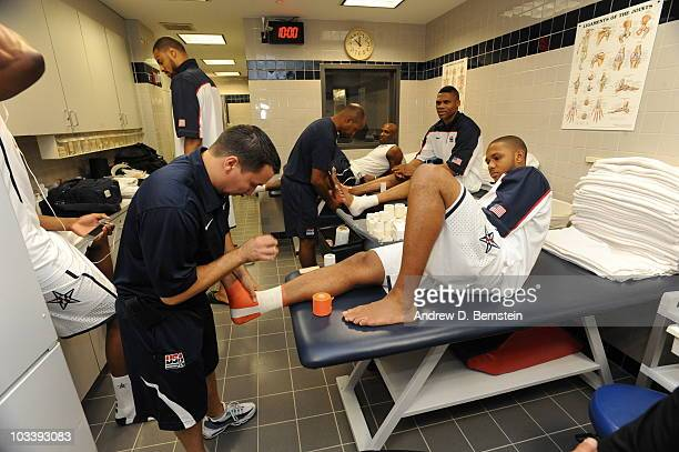 Eric Gordon of the USA Men's National Team gets his feet taped prior to the game against France on August 15 2010 at Madison Square Garden in New...
