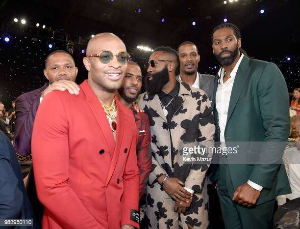 Eric Gordon PJ Tucker Chris Paul James Harden Trevor Ariza and Nene attend the 2018 NBA Awards at Barkar Hangar on June 25 2018 in Santa Monica...