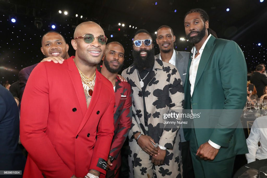 Eric Gordon, P.J. Tucker, Chris Paul, James Harden, Trevor Ariza, and Nene attend the 2018 NBA Awards at Barkar Hangar on June 25, 2018 in Santa Monica, California.
