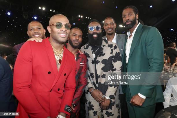 Eric Gordon, P.J. Tucker, Chris Paul, James Harden, Trevor Ariza, and Nene attend the 2018 NBA Awards at Barkar Hangar on June 25, 2018 in Santa...