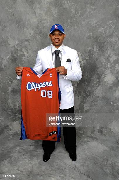 Eric Gordon selected number seven overall by the Los Angeles Clippers poses for a portrait backstage during the 2008 NBA Draft on June 26 2008 at the...