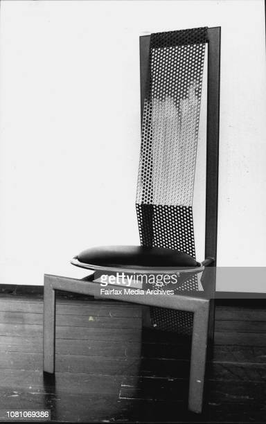Eric Gradman highbacked chair in steel chromed steel and leather designed in 1987 From Remo March 01 1989