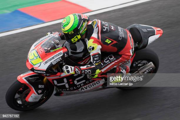 Eric Granado of Spain and Forward Racing Team heads down a straight during the MotoGp of Argentina Free Practice on April 6 2018 in Rio Hondo...