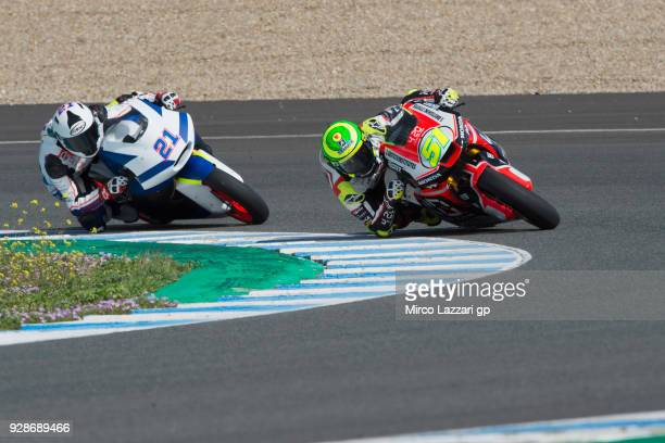 Eric Granado of Spain and Forward Racing Team leads Federico Fuligni of Italy and Tasca Racing Scuderia Moto2 during the Moto2 Moto3 Tests In Jerez...