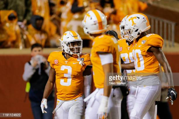 Eric Gray of the Tennessee Volunteers celebrates running a ninety-four yard touchdown against the Vanderbilt Commodores during the second quarter at...