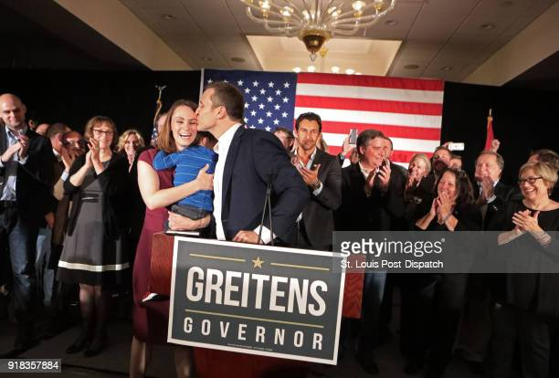 Eric Greitens kisses his wife, Sheena, before giving his victory speech after winning the Missouri governor's race on November 8 at his election...
