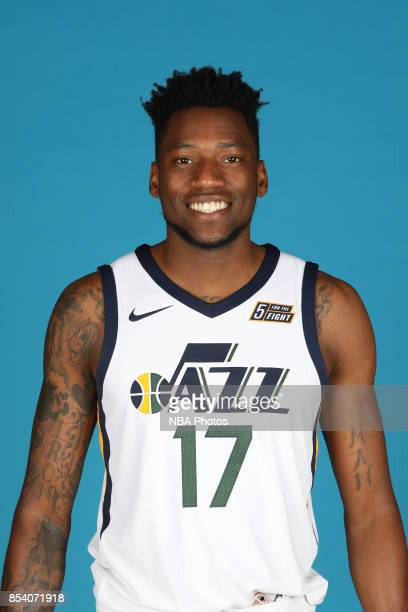 Eric Griffin of the Utah Jazz poses for a head shot during media day at Zions Bank Basketball Center on September 25 2017 in Salt Lake City Utah NOTE...