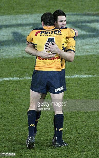 Eric Grothe and Ben Smith of the Eels celebrate at fulltime during the round 21 NRL match between the Parramatta Eels and the Manly Warringah Sea...