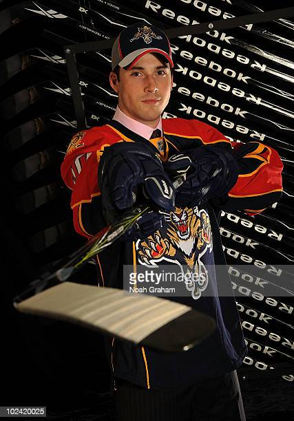 Eric Gudbranson drafted third overall by the Florida Panthers poses for a portrait during the 2010 NHL Entry Draft at Staples Center on June 25 2010...