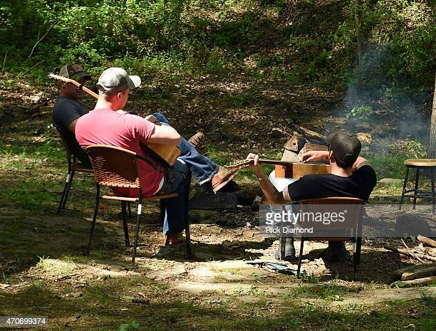 Eric Gunderson and Stephen Barker Liles attend Country Rock Group Love And Theft Cabin Fever Writing Sessions on April 21 2015 in Dover Tennessee
