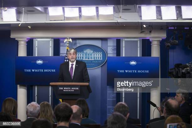 Eric Hargan acting US secretary of Health and Human Services speaks during a White House press briefing in Washington DC US on Thursday Nov 30 2017...