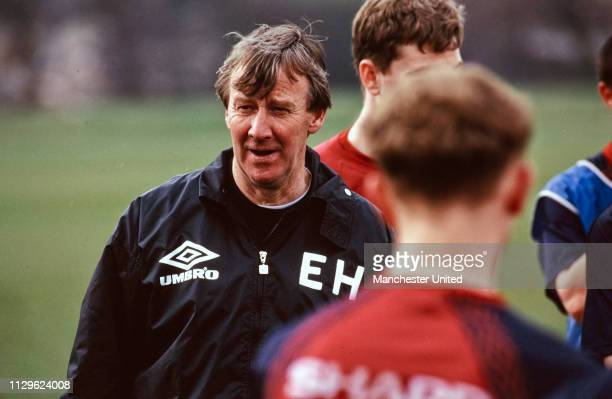 Eric Harrison Manchester United Youth Team coach trains with the youth team circa 1990's