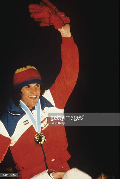 Eric Heiden celebrates as he wins his fifth gold medal of the 1980 Winter Olympics in February 1980 in Lake Placid New York