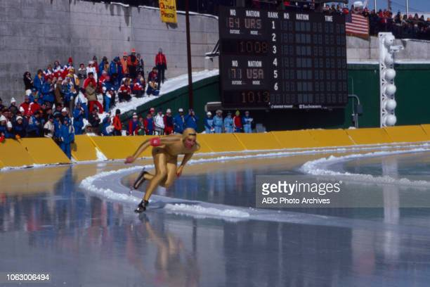 Eric Heiden competing in the Men's 500 metres speed skating event at the 1980 Winter Olympics / XIII Olympic Winter Games James B Sheffield Olympic...