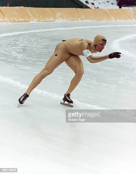 Eric Heiden of the United States competes in a Speed Skating event during the 1980 Winter Olympics in Lake Placid New York