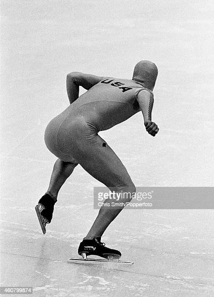Eric Heiden of the United States winner of all five men's speed skating events at the Winter Olympic Games in Lake Placid circa February 1980