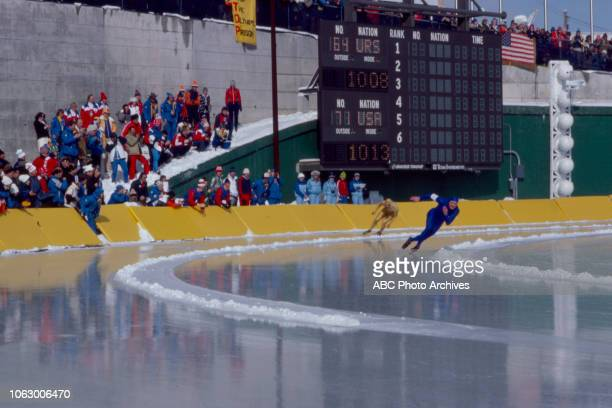 Eric Heiden Yevgeny Kulikov competing in the Men's 500 metres speed skating event at the 1980 Winter Olympics / XIII Olympic Winter Games James B...