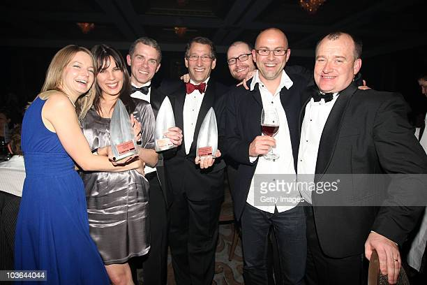Eric Hertz, Chief Executive Officer of 2degrees celebrates with his team after winning the Supreme award during the 2010 TVNZ-NZ Marketing Awards at...