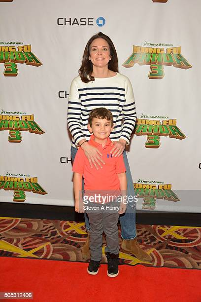 Eric Hill and Sawyer Yount attend a screening of Kung Fu Panda3 at AMC Loews Kips Bay 15 theater on January 16 2016 in New York City