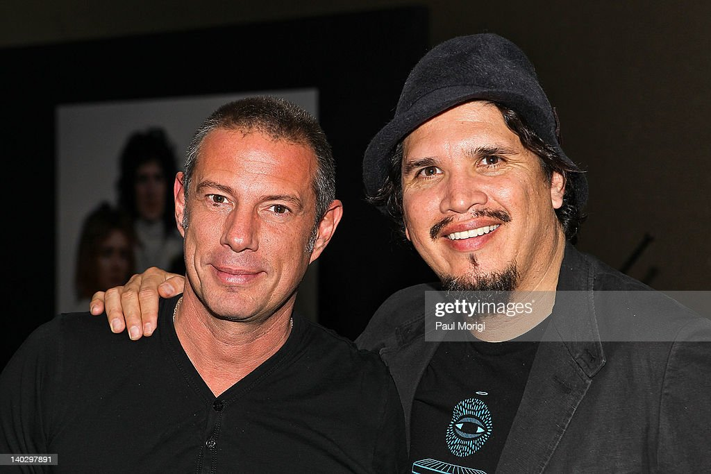 Eric Hilton (L) and Rob Garza of Thievery Corporation attend Mick Rock's Photography exhibit at the W Washington D.C. on March 1, 2012 in Washington, DC.