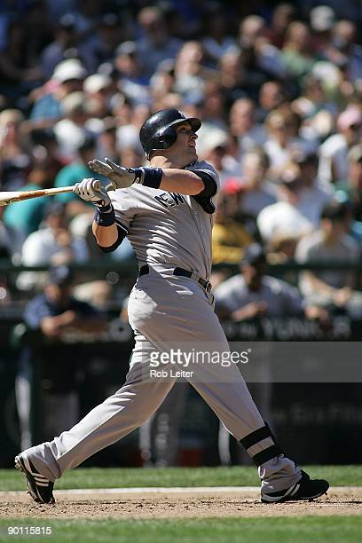 Eric Hinske of the New York Yankees bats during the game against the Seattle Mariners at Safeco Field on August 16 2009 in Seattle Washington The...