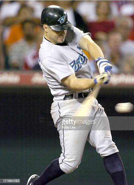 Eric Hinske of the Toronto Blue Jays bats during 10 victory over the Anaheim Angels at Angel Stadium in Anaheim California on Wednesday Sept 8 2004