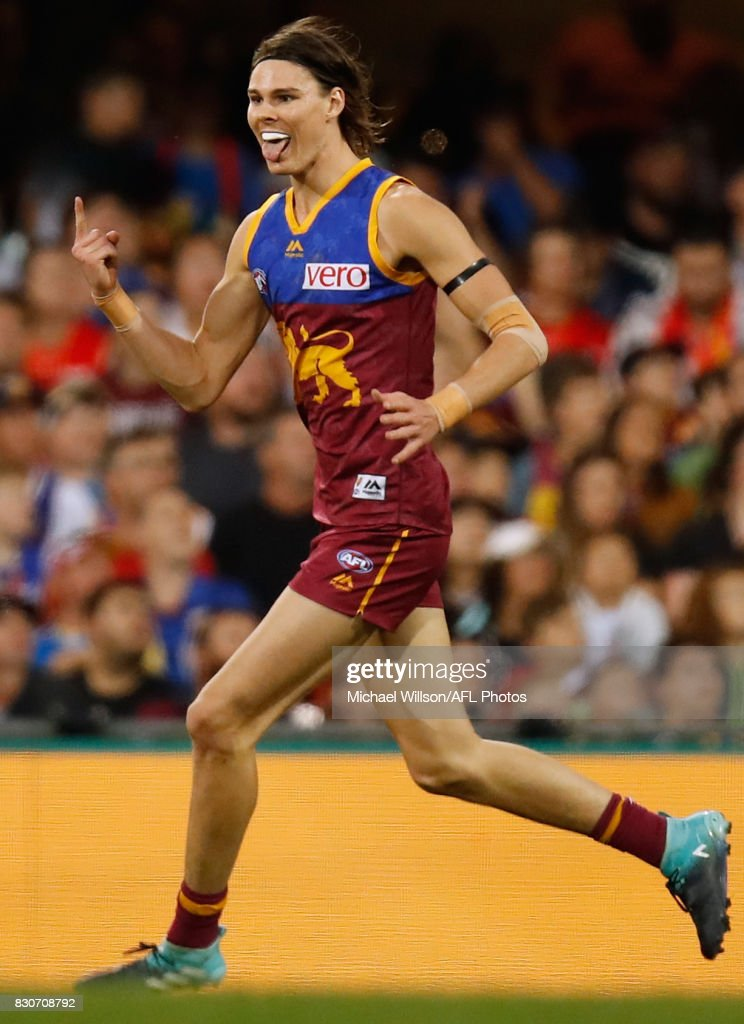 Eric Hipwood of the Lions celebrates a goal during the 2017 AFL round 21 match between the Brisbane Lions and the Gold Coast Suns at the Gabba on August 12, 2017 in Brisbane, Australia.