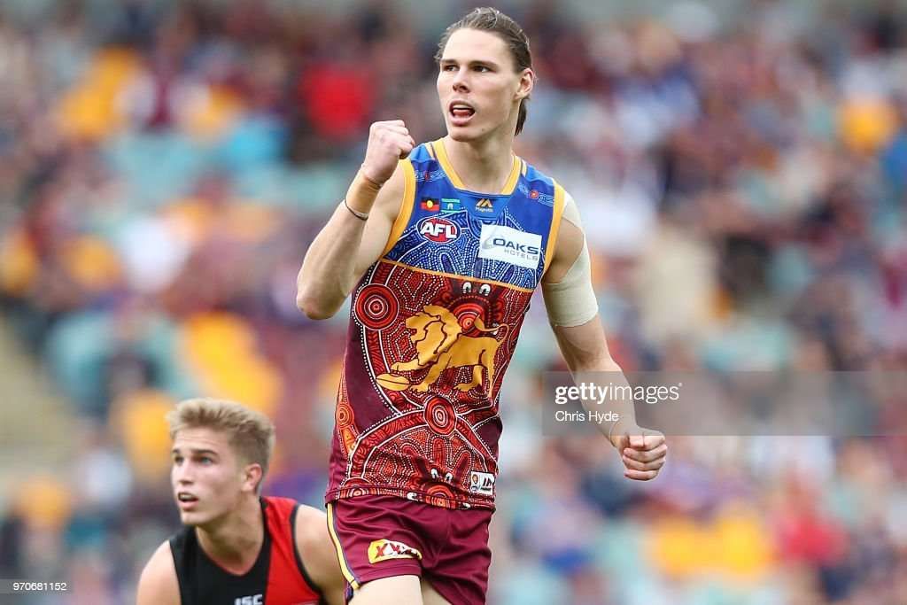 Eric Hipwood of the Lions celebrates a goal during the round 12 AFL match between the Brisbane Lions and the Essendon Bombers at The Gabba on June 10, 2018 in Brisbane, Australia.