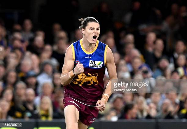 Eric Hipwood of the Lions celebrates after kicking a goal during the round 10 AFL match between the Brisbane Lions and the Richmond Tigers at The...