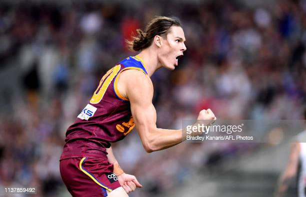 Eric Hipwood of the Lions celebrates kicking a goal during the round 5 AFL match between Brisbane and Collingwood at The Gabba on April 18 2019 in...