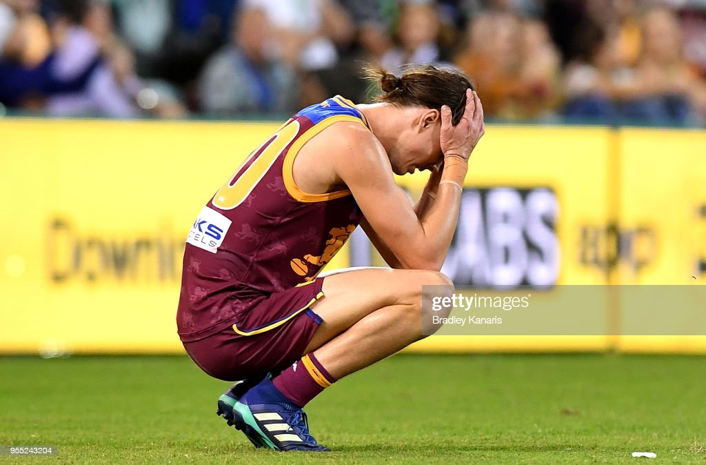 Eric Hipwood of the Lions is dejected after his team loses the round seven AFL match between the Brisbane Lions and the Collingwood Magpies at The Gabba on May 6, 2018 in Brisbane, Australia.