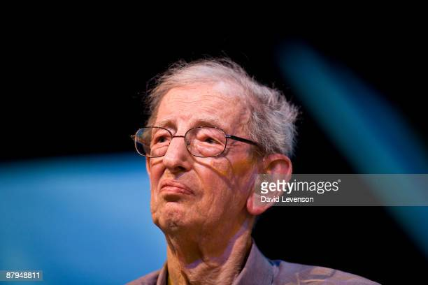 Eric Hobsbawm historian and writer speaking at the Hay festival on May 24 2009 in HayonWye Wales