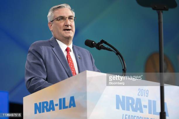Eric Holcomb, governor of Indiana, speaks at the National Rifle Association Institute for Legislative Action Leadership Forum during the NRA annual...