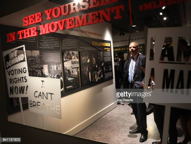 Eric Holder Jr the 82nd Attorney General of the United States visits the MLK50 A legacy Rembered exhibit at the National Civil Rights Museum as they...