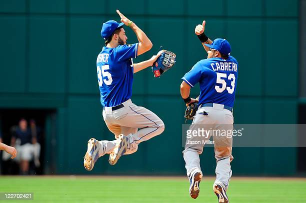 Eric Hosmer and Melky Cabrera of the Kansas City Royals celebrate after defeating the Cleveland Indians 2-1 at Progressive Field on August 28, 2011...