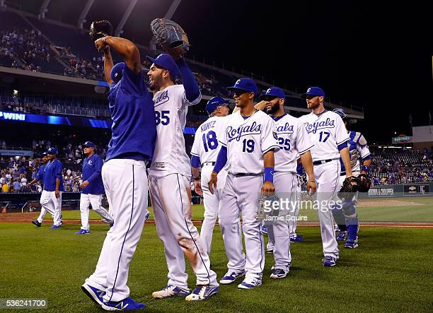 Eric Hosmer and Salvador Perez of the Kansas City Royals celebrate after the Royals defeated the Tampa Bay Rays 105 to win the game at Kauffman...