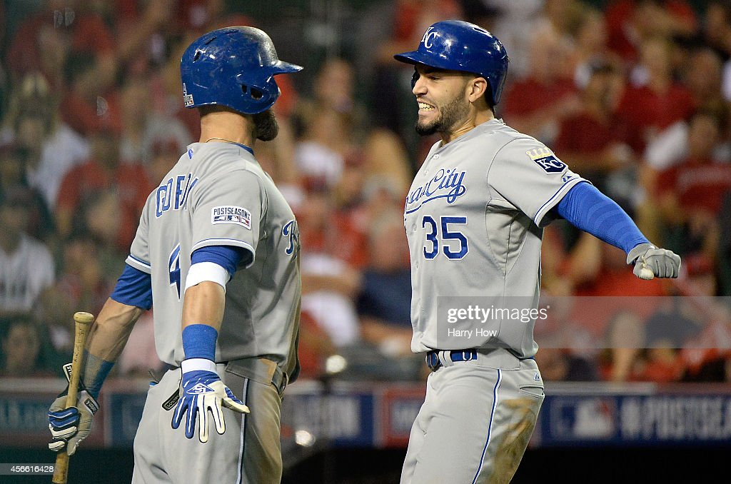 Eric Hosmer #35 celebrates with Alex Gordon #4 of the Kansas City Royals after hitting a two-run home run in the elventh inning against the Los Angeles Angels during Game Two of the American League Division Series at Angel Stadium of Anaheim on October 3, 2014 in Anaheim, California.