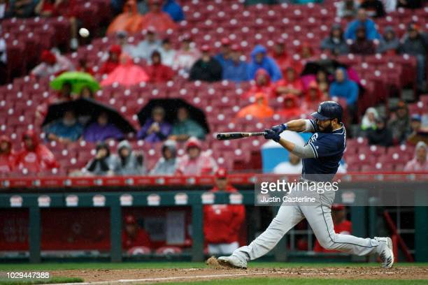 Eric Hosmer hits a home run against the Cincinnati Reds in the fourth inning at Great American Ball Park on September 8 2018 in Cincinnati Ohio