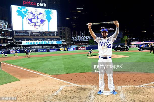 Eric Hosmer of the Kansas City Royals and the American League poses with the Ted Williams Most Valuable Player award after defeating the National...