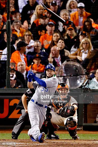 Eric Hosmer of the Kansas City Royals breaks his bat in the ninth inning while taking on the San Francisco Giants during Game Three of the 2014 World...