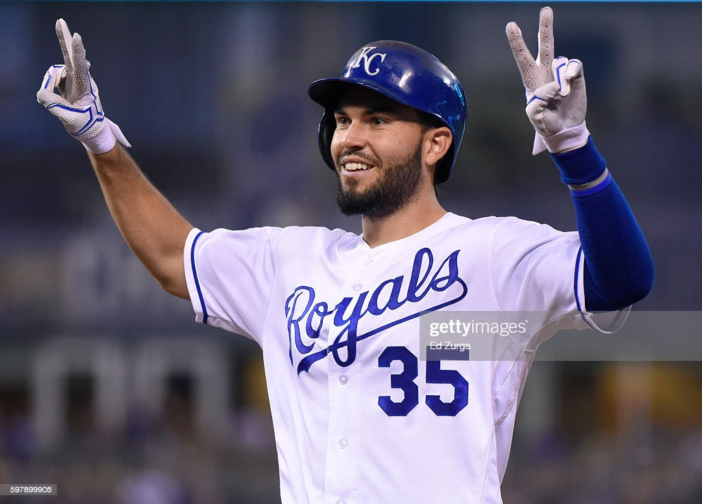 Eric Hosmer #35 of the Kansas City Royals celebrates a RBI single in the seventh inning against the New York Yankees at Kauffman Stadium on August 29, 2016 in Kansas City, Missouri.