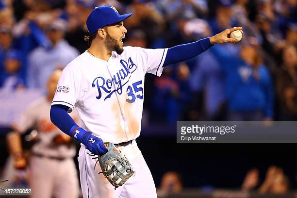 Eric Hosmer of the Kansas City Royals celebrates after defeating the Baltimore Orioles 2 to 1 in Game Three of the American League Championship...