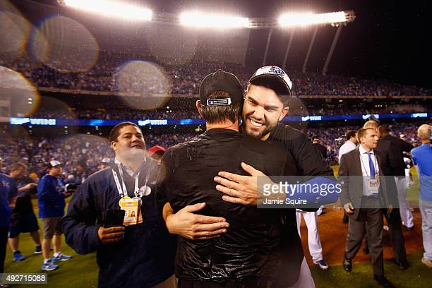 Eric Hosmer of the Kansas City Royals celebrates after the Kansas City Royals defeat the Houston Astros 72 in game five of the American League...