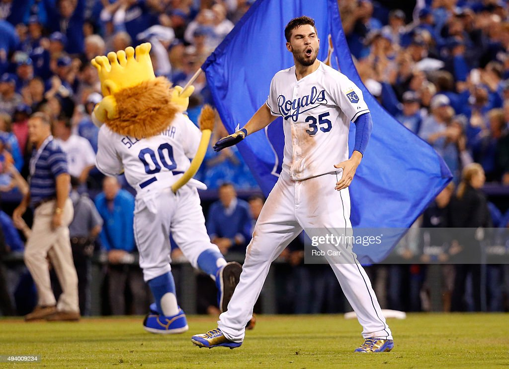 Eric Hosmer #35 of the Kansas City Royals celebrates after the Royals 4-3 victory against the Toronto Blue Jays in game six of the 2015 MLB American League Championship Series at Kauffman Stadium on October 23, 2015 in Kansas City, Missouri.